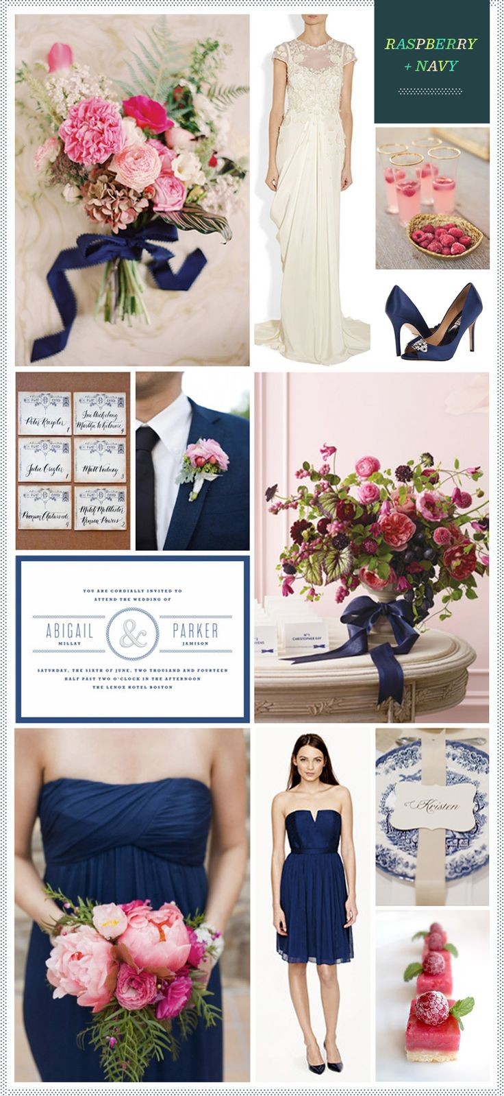Navy + Raspberry + Gold Wedding Inspiration                                                                                                                                                     More