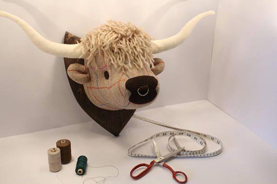 Mounted Fabric Highland Cows Head Handmade In Scotland Highland Cow Highland Cow Gifts Cow Gifts