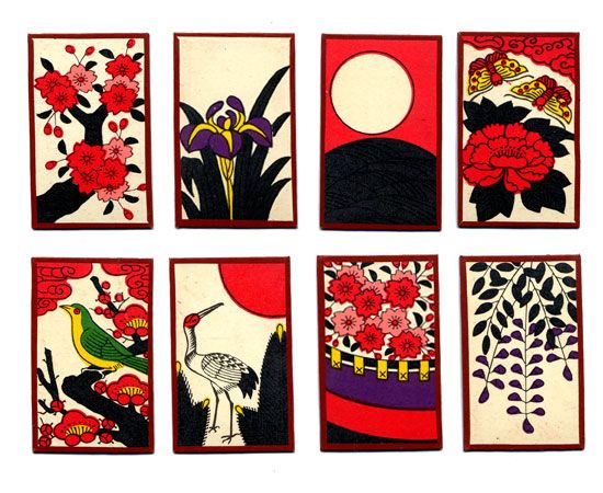 Hanafuda This is japanese playing cards. The japanese beauties of nature are represented on the cards.