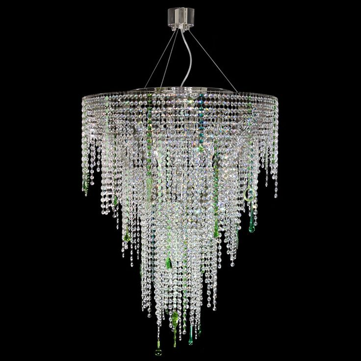 #Crystal dream collection. #Hanging #lamp. Transparent crystal cut glass with green details.