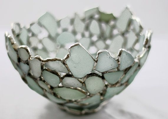 A unique bowl made from genuine sea glass found on my local beach. I have used seafoam glass, giving the bowl a sparkling and light feel. The