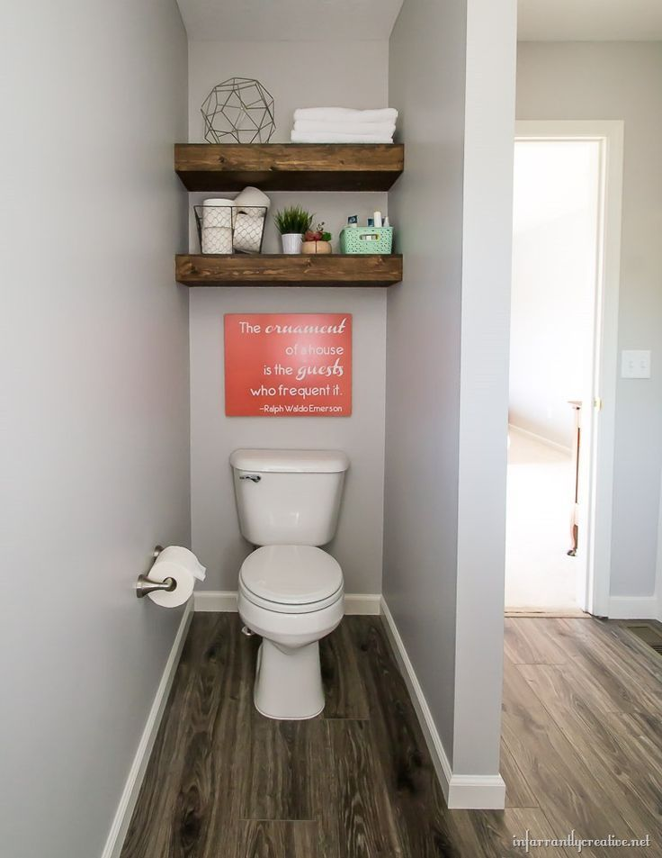 floating shelves above toilet | Guest Bathroom Reveal – Infarrantly Creative   -…   – most beautiful shelves