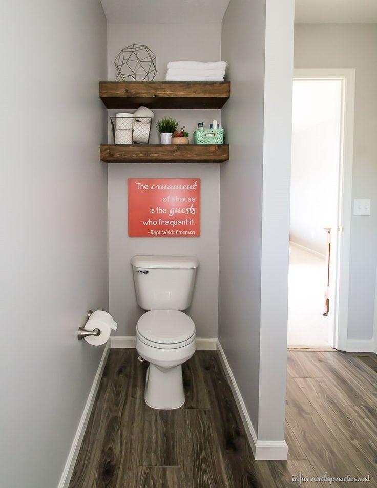 floating shelves above toilet   Guest Bathroom Reveal – Infarrantly Creative   -…   – most beautiful shelves