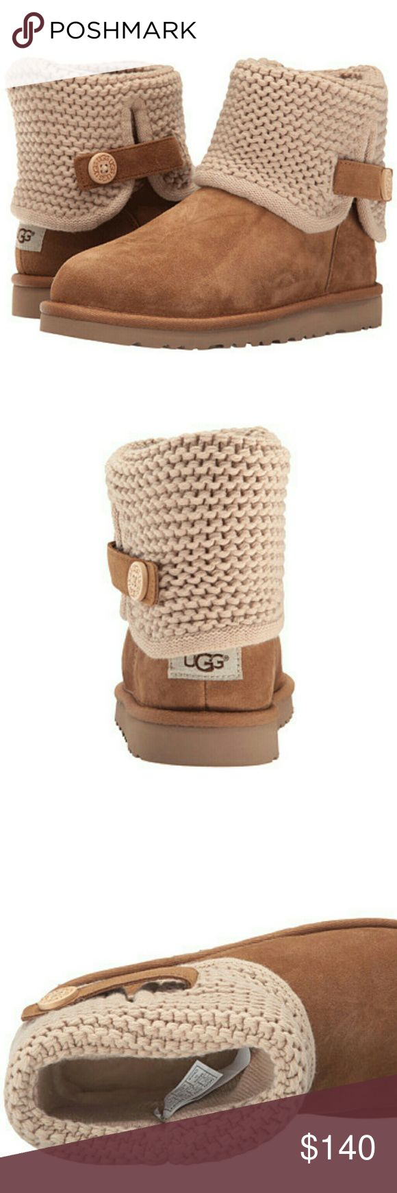 New UGG Boots 100% authentic brand new pair of UGG boots kids in a size 5 ( women's 7 ) . They come with the original box, wrapping and cards!   100% fine woolen sheepskin breathes, wicking heat and moisture away to keep little feet dry and warm.  If you have any questions please let me know thank you!    tags: boots boot bootie uggs Australia butte warm shoes youth kids 2.5 3 3.5 4 marmot adidas Canada goose Northface nike warm weather knit UGG Shoes Winter & Rain Boots