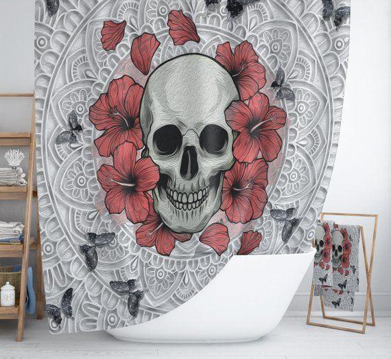 Sugar Skull Shower Curtain Poppies Floral Butterfly Skull Bathroom Decor Poppy Shower Curtain Sugar Skull Shower Curtain Gothic Skulls