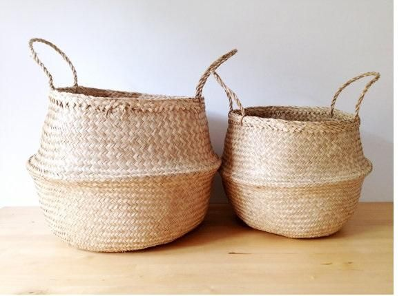 Natural Sea Grass Belly Basket storage basket as well as planters baskets