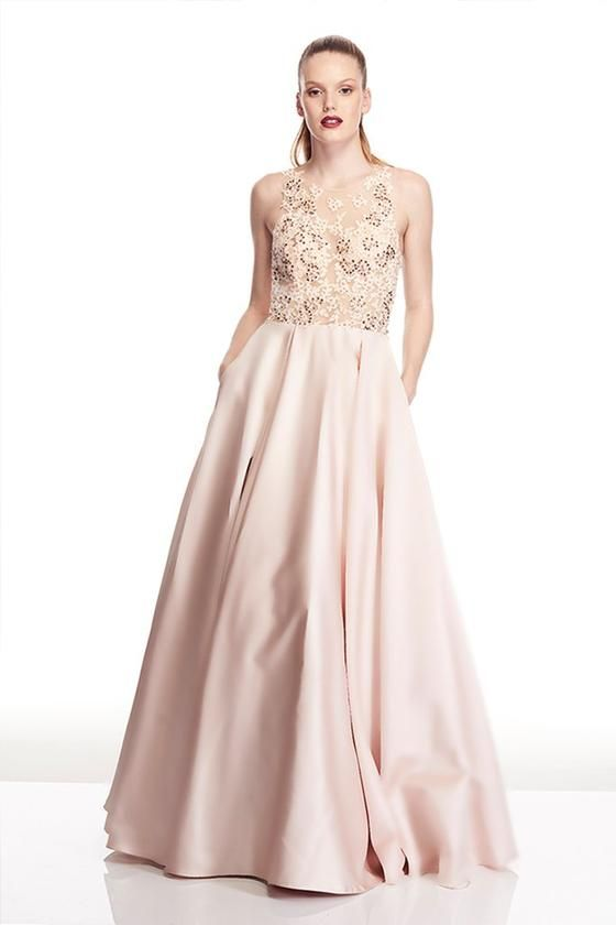 Tinaholy Couture T17120 Pink Champagne Satin Formal Gown Dress ...
