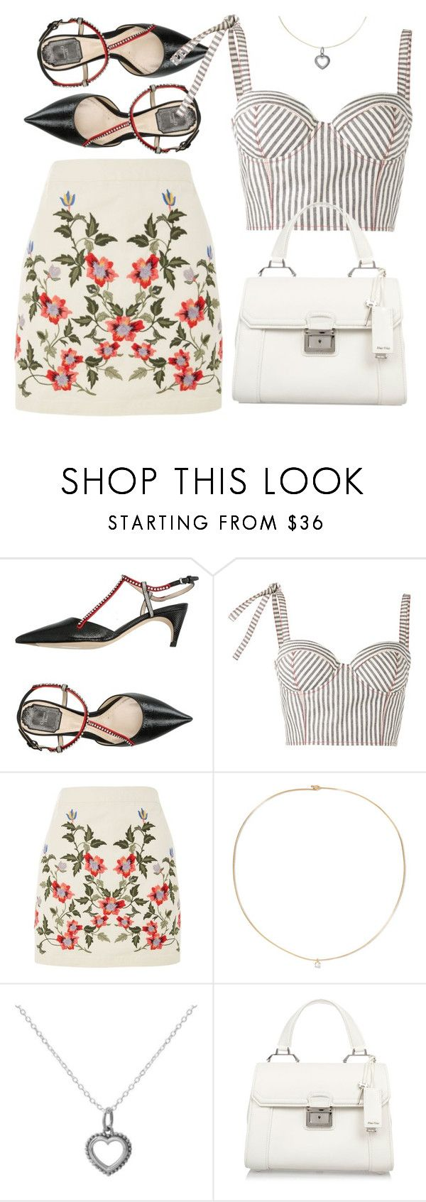 """Floral and Stripes"" by ivansyd ❤ liked on Polyvore featuring Christian Dior, Rosie Assoulin, Topshop, Loren Stewart, Midsummer Star, Miu Miu and Floralskirts"