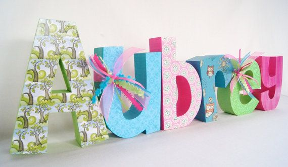 Wooden Name Letters by thepatternbag on Etsy, $60.00