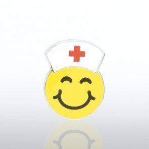 Lapel Pin - Smiley Face with Nurse Hat by Baudville. $1.99. Each lapel pin is beautifully crafted and individually packaged in a plastic snap box. All lapel pins have a military clutch backing. Lapel pin presentation boxes are sold separately.
