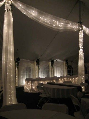 This is the lights in tulle thing I was telling you about.tulle and lights across the head table