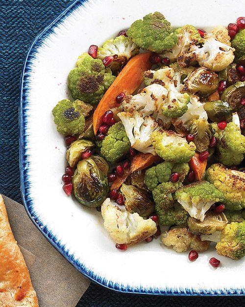 Make-Ahead Roasted Vegetables with Pomegranate Vinaigrette for #Thanksgiving - Martha Stewart Recipes