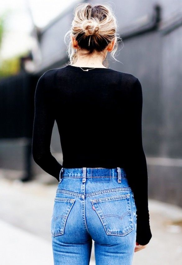 black long sleeve shirt + light denim jeans.