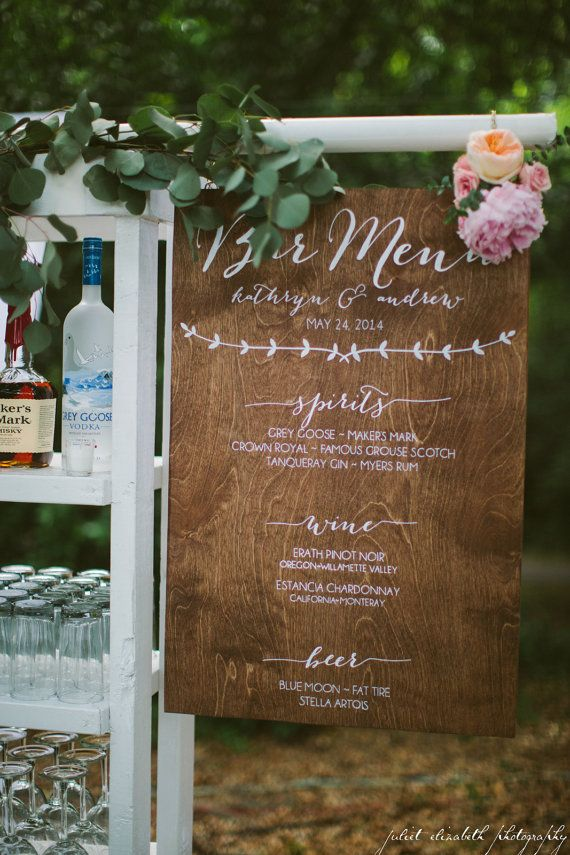 Bar Menu  Wooden Wedding Sign by VintageFlairWeddings on Etsy