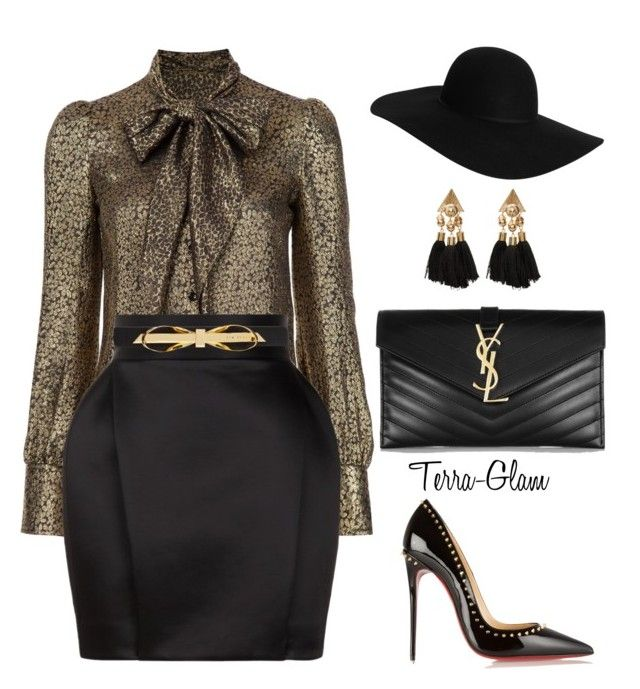 """""""Holiday Parties"""" by terra-glam ❤ liked on Polyvore featuring Yves Saint Laurent, Balmain, Ted Baker, Christian Louboutin and Monki"""