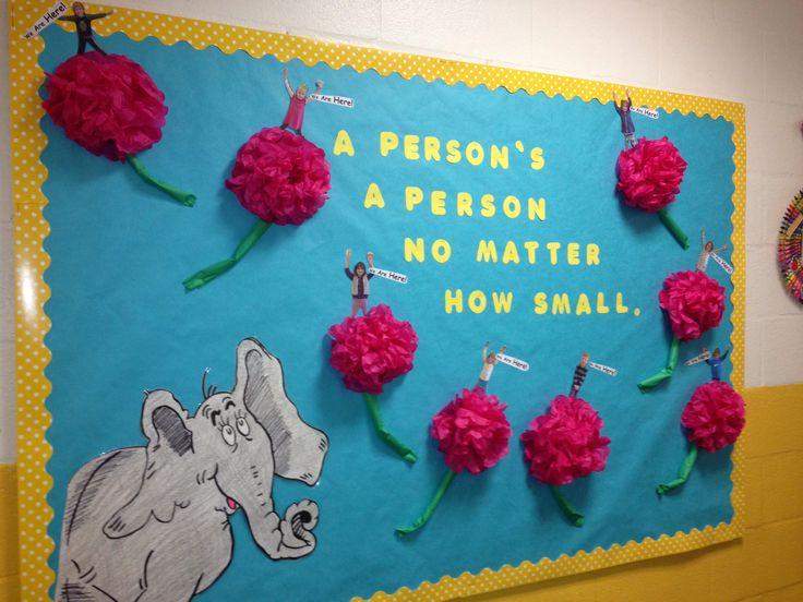 Horton Dr. Seuss bulletin board preschool Horton Hears a Who