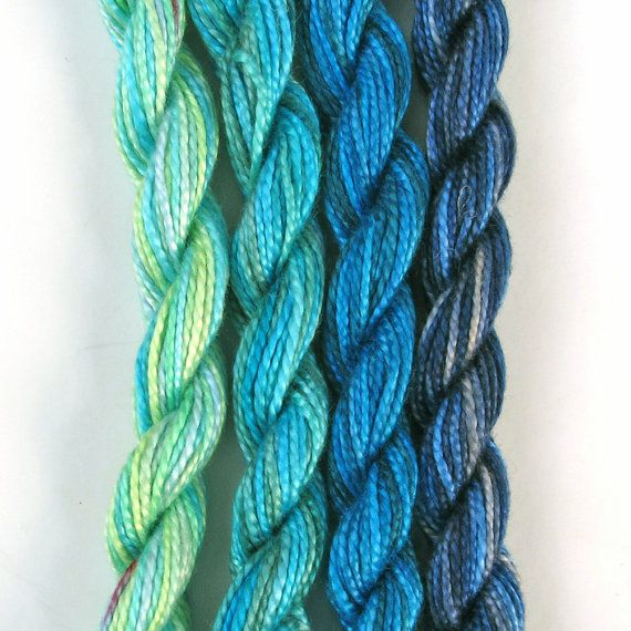 Hand dyed cotton perle 5 embroidery yarn, 4 mini skeins - turquoise, light blue, pale aquamarine, light green, bright blue, navy blue