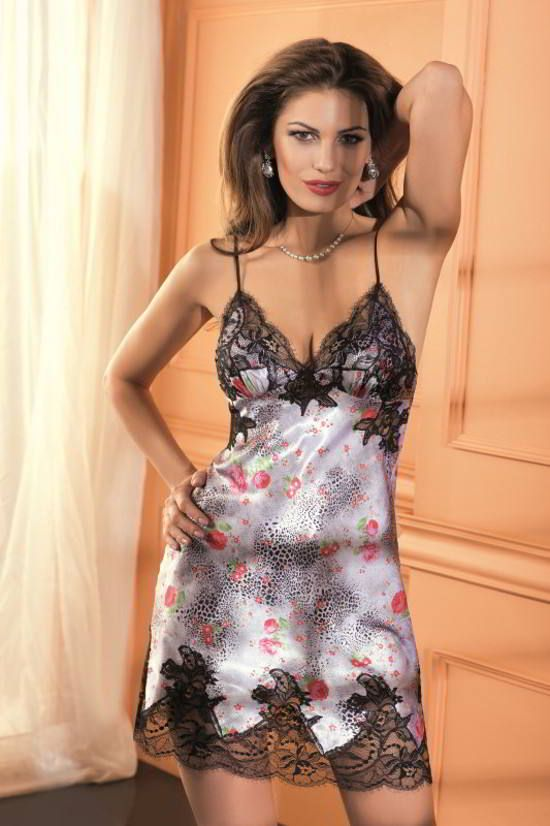 Luxury Satin Nightdress Fascination by Coemi. European made with fine Italian satin and French lace.
