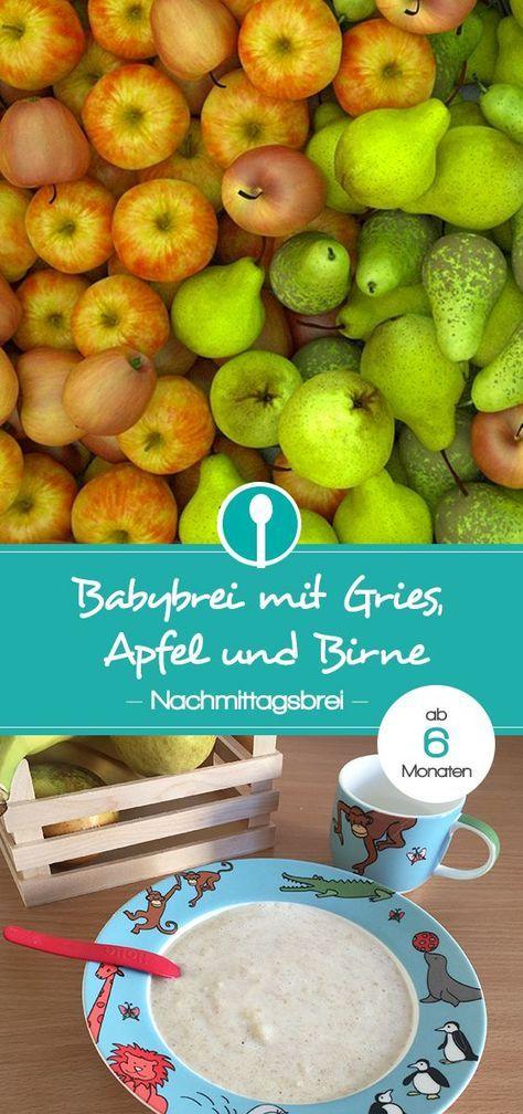 Babybrei mit Gries, Apfel und Birne. Ein leckerer Nachmittagsbrei für Babys ab 6 Monaten.