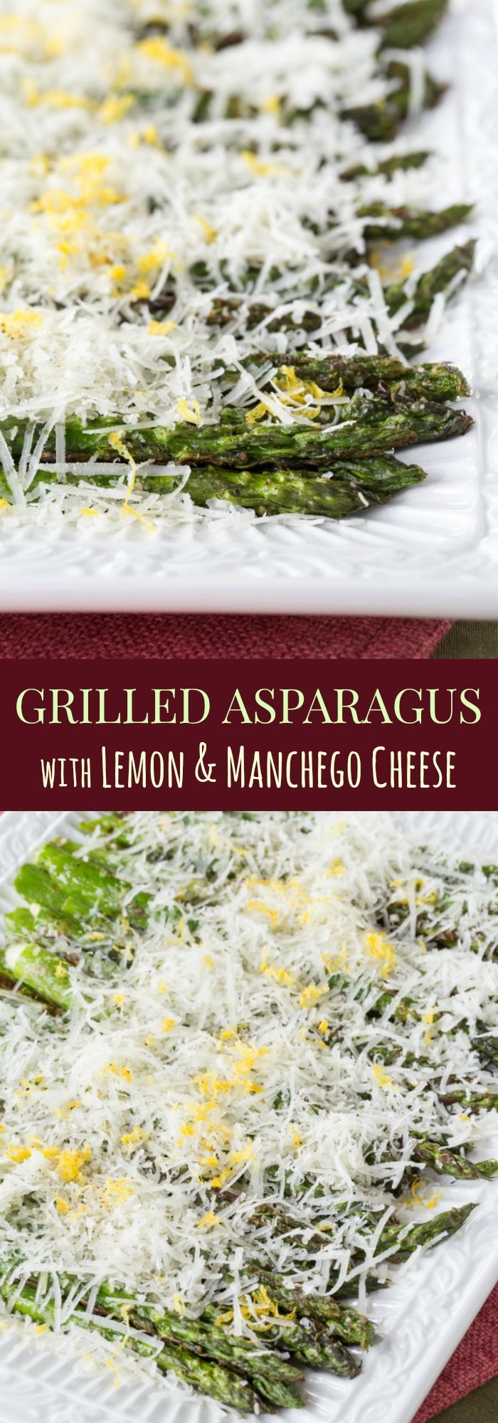 Grilled Asparagus with Lemon and Manchego Cheese - you only need a few simple ingredients for an easy summer vegetable side dish recipe that explodes with flavor. No Manchego? You can use Parmesan, Romano, or even and extra sharp cheddar cheese. | cupcakesandkalechips.com | gluten free, low carb, vegetarian