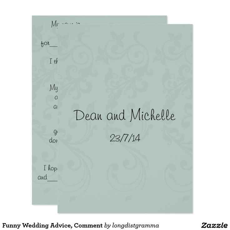 Funny Wedding Advice, Comment Card