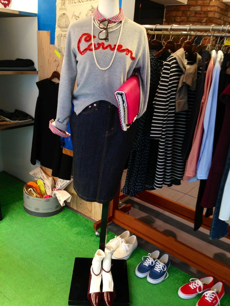 CARVEN sweat pullover + MIRROR OF Shinzone pencil denim skirt + STEVE MONO clutch + 10 CROSBY DEREK LAM strappy flats