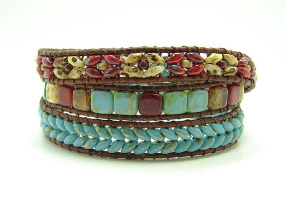 Blue Herringbone Beaded Leather Wrap Bracelet Turquoise Blue