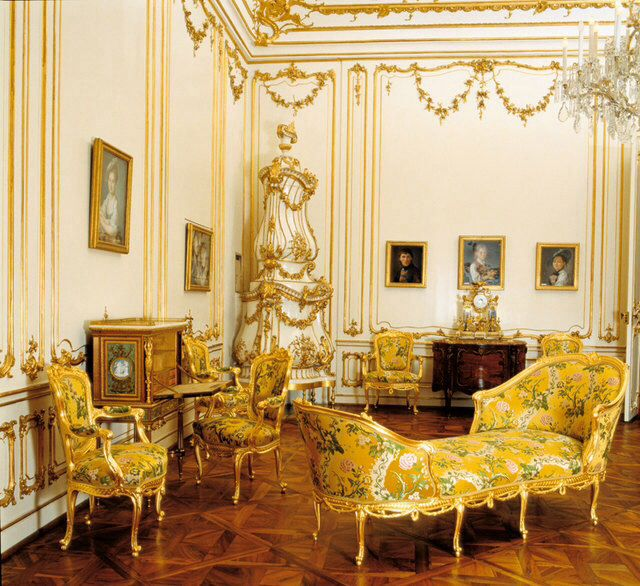 The Yellow Drawingroom at Schonnbrunn palace. This room was once the bedroom of Emperor Francis Stephen and Maria Theresa in the early years of their marriage until 1747.