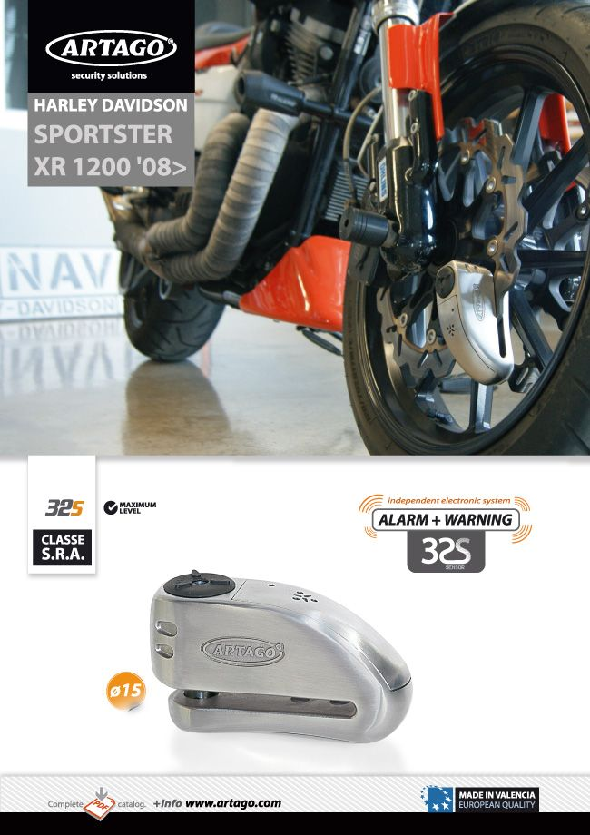 SPORTSTER XR 1200 with Artago 32S alarm Disc Lock