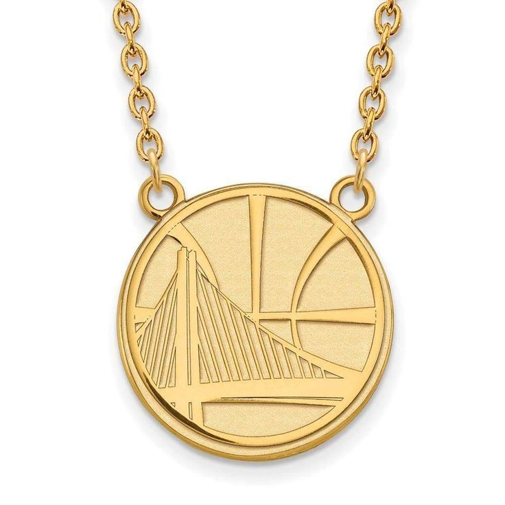 10ky NBA LogoArt Golden State Warriors Large Pendant w/Necklace
