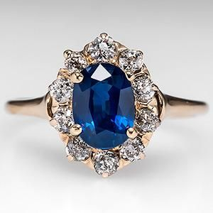 Victorian Sapphire Engagement Ring w/ Diamond Halo 14K Gold 1900's