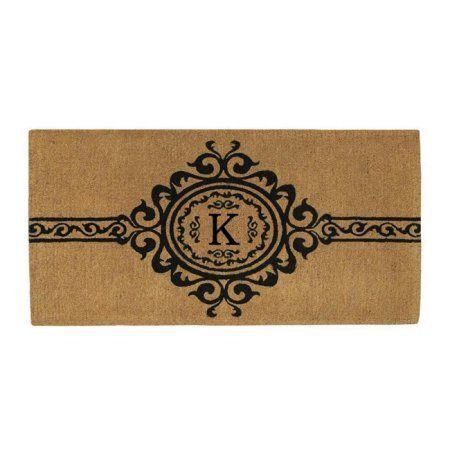 Garbo Monogram Doormat, Extra-thick (Letter K), Brown