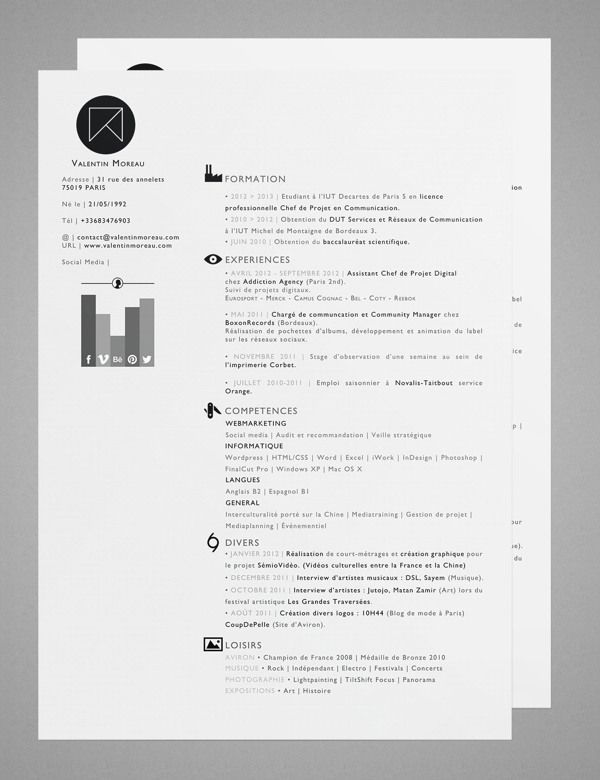 Curriculum Vitae by Valentin Moreau, via Behance