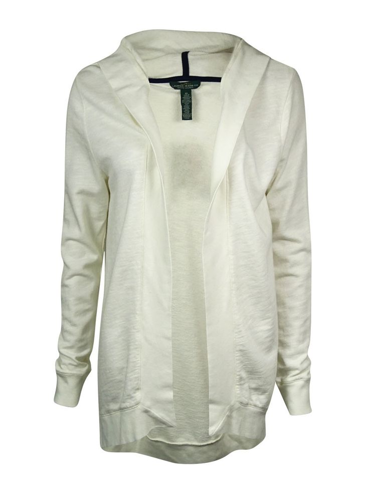 LRL Lauren Jeans Co. Women's Hooded French-Terry Knit Cardigan