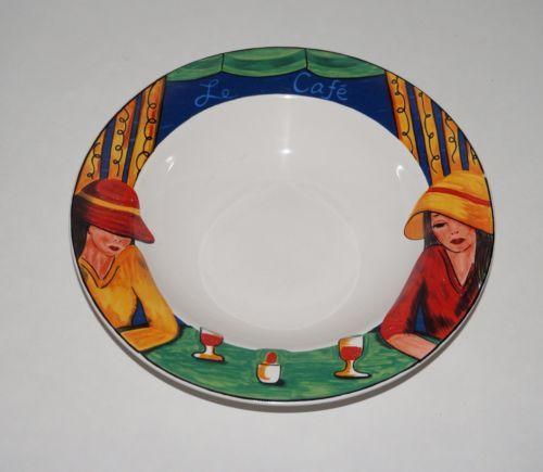 Sango-Le-Cafe-4882-Women-in-Cafe-Scene-Rim-China-Dinnerware-1-Soup-Pasta-Bowl