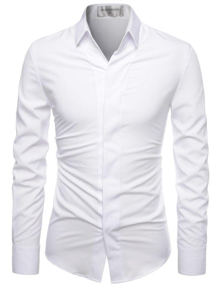 (NKS650) TheLees 주름 무료 멋진 스트레치 숨기기 버튼 아래 드레스 셔츠