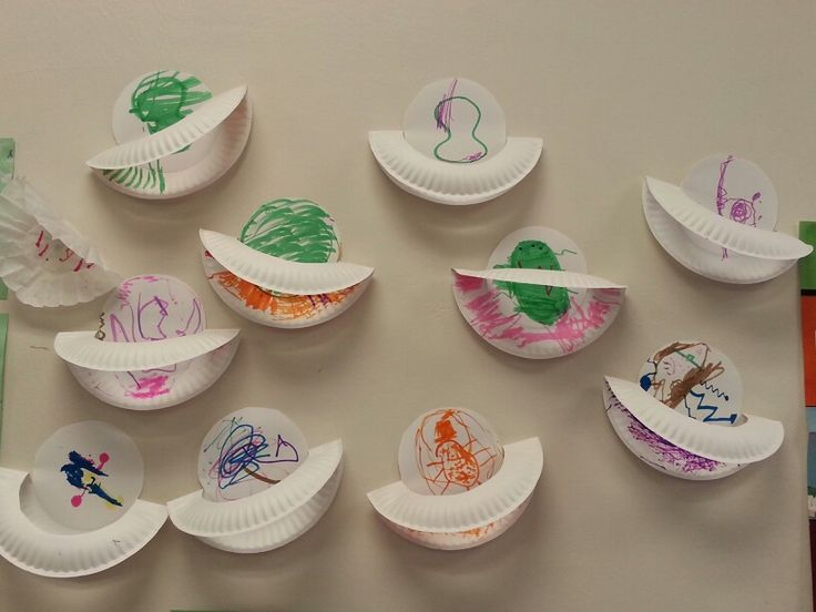 Paper plates used to make planets with rings. Solar system unit at Weber State University's Preschool.