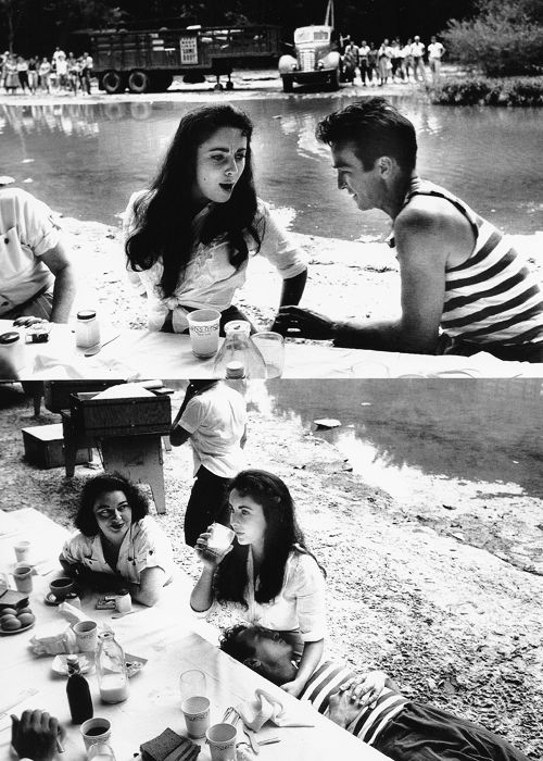Elizabeth Taylor and Montgomery Clift on the set of Raintree County, Kentucky, 1956. Photographed by Bob Willoughby.