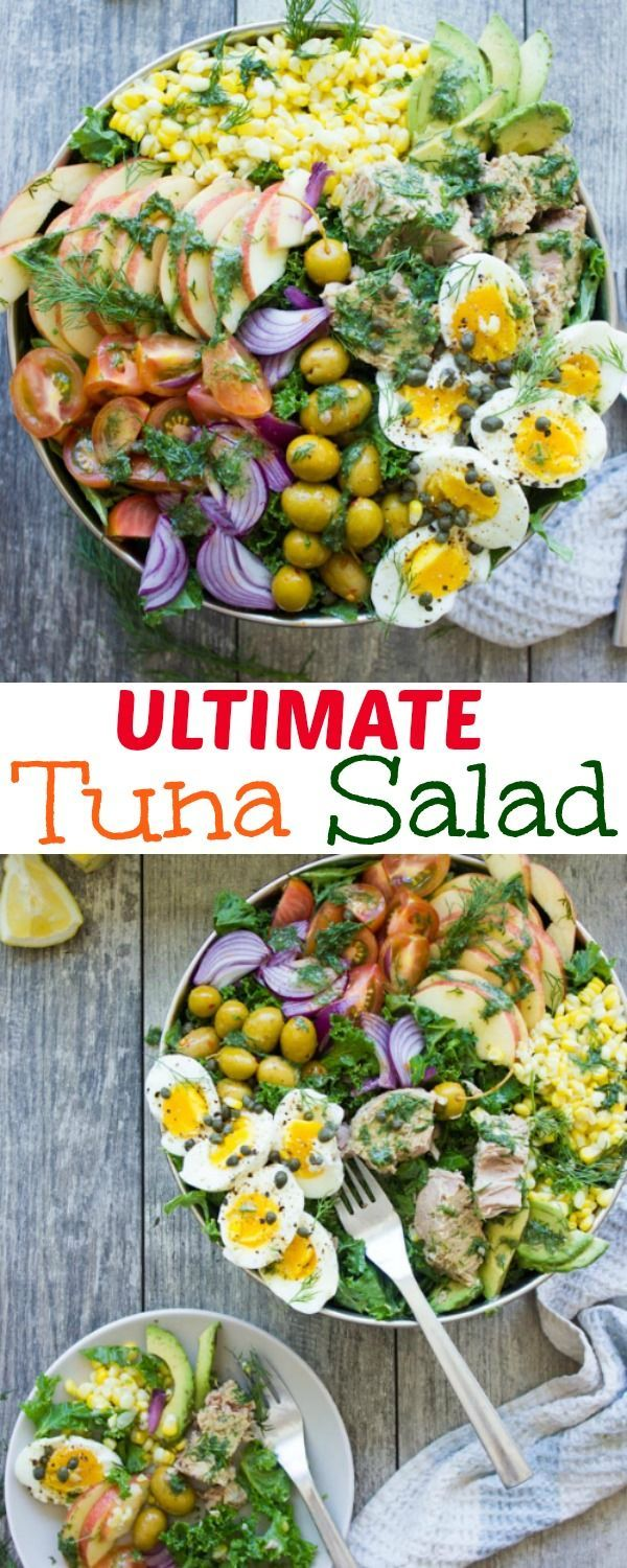 Ultimate Tuna Salad Recipe with Olive Dressing. If you haven't made this flavorful tuna salad recipe yet--you're missing out! No more tuna mayo mush, say hello to herbs, mustard, onions, olives and more! recipe at www.twopurplefigs.com