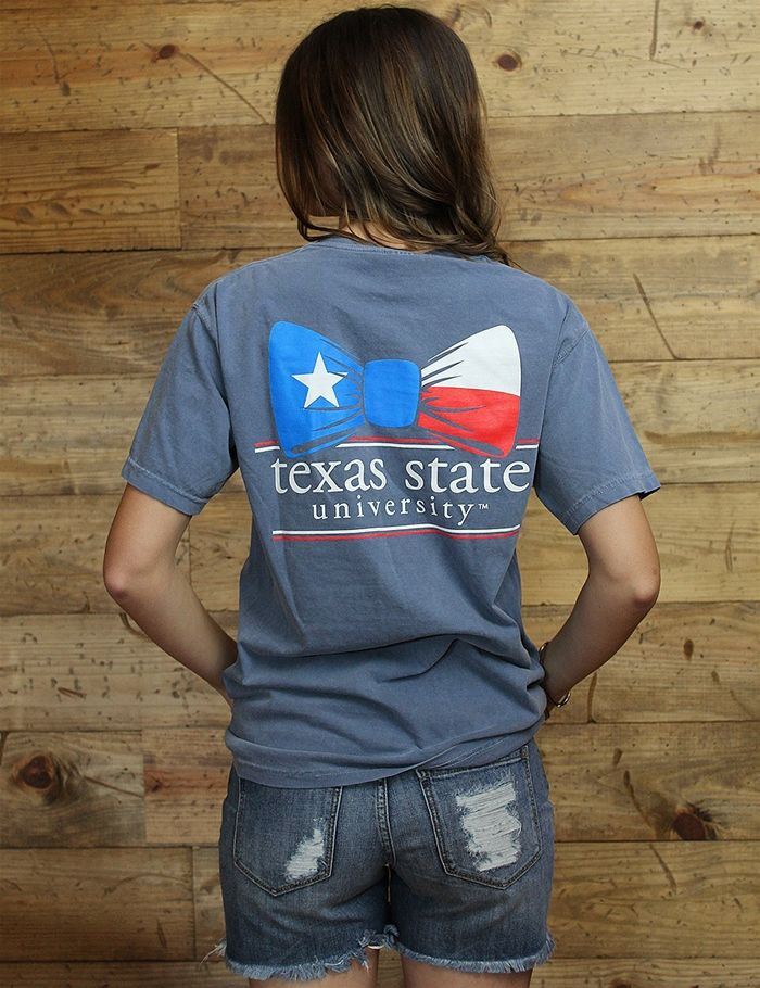 Nothing is more classy than a Texas flag bow tie and Texas State University! Get your Comfort Colors t-shirt before they're all gone!