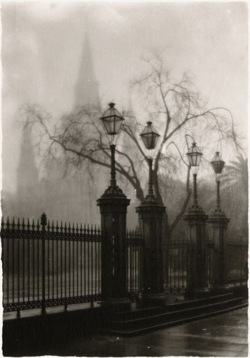 A Foggy Morning in the Place d'Armes (1938) Eugene A. Delacroix New Orleans photographer