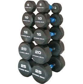 Complete your home gym with the Fitness Gear Rubber Hex 5-25 lb Dumbbell Set. Each dumbbell features a balanced cast iron core and a rubber finish to protect and prevent damage to your floors or equipment. The knurling grip design delivers better hand control as you pump multiple sets for strength training or add resistance to your daily cardio routines. Increase muscle strength and total body toning with the Fitness Gear Rubber Hex Dumbbell Set.