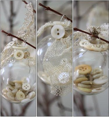 DIY::Button-filled Glass Ornaments with Lace Trim