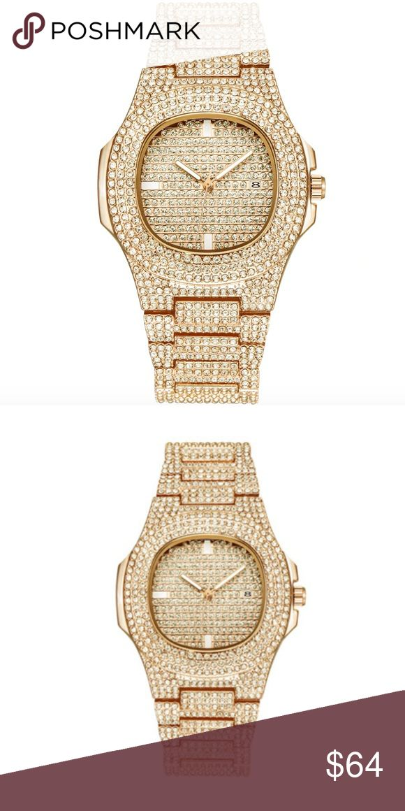 Gold Diamond Patek Watch Hip Hop Iced Out Piguet Bust Down AP Watch. Iced  Out CZ Diamonds Gold Color Silver AP Hip Hop Watch Jewelry. 881f2bdc6b