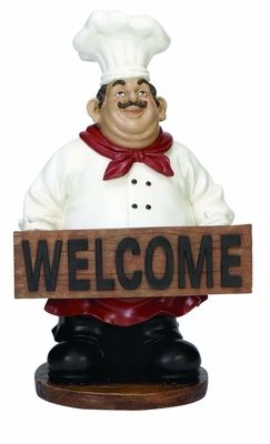"""Buy French Fat Chef With Welcome Sign Board 16""""H At Wildorchidquilts.Net"""