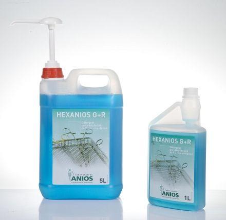 Hexanios G+R 1 l Płynny preparat na bazie detergentów do manualnego mycia i dekontaminacji zanieczyszczonych narzędzi chirurgicznych, endoskopów i innych wyrobów medycznych.