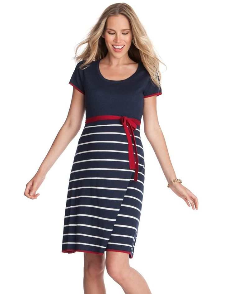 Nautical Knitted Maternity Dress | Seraphine | Nautical Maternity Dresses | Wrap Maternity Dresses
