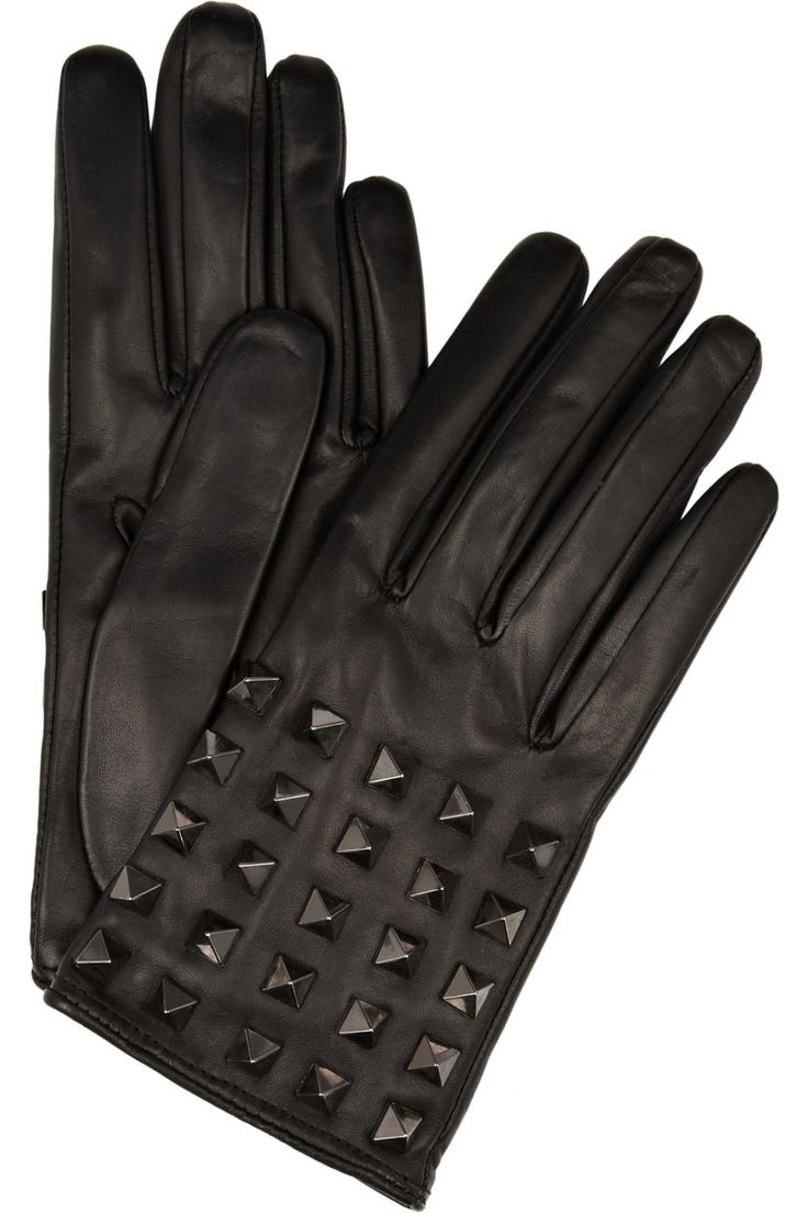 Womens leather biker gloves - Valentino Rockstud Studded Leather Gloves