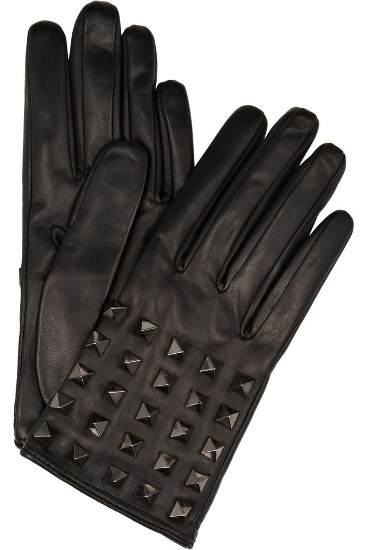 Womens leather biker gloves - Valentino Rockstud Studded Leather Gloves