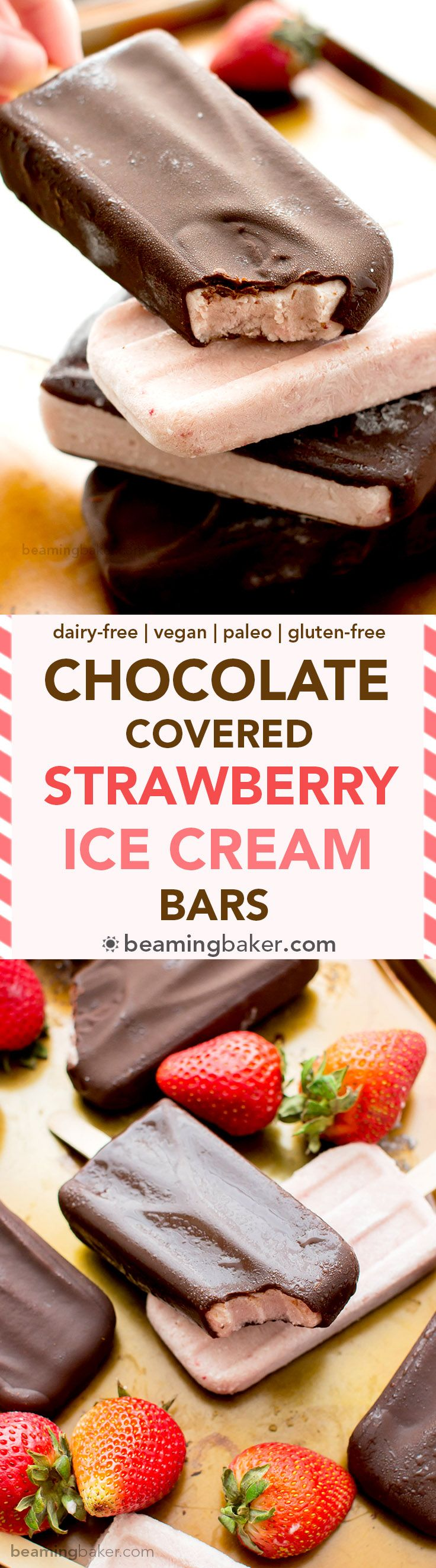 Chocolate-covered Strawberry Ice Cream Bars: a 6 ingredient recipe for amazing ice cream bars that taste like chocolate-covered strawberries. | Vegan & Gluten free